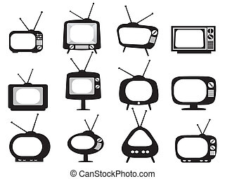 black , retro, tv, iconen, set