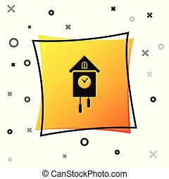 Black Retro wall watch icon isolated on white background. Cuckoo clock sign. Antique pendulum clock. Yellow square button. Vector Illustration