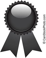 Black ribbon award isolated on white