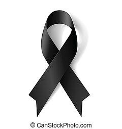 Black awareness ribbon on white background. Mourning and melanoma symbol.