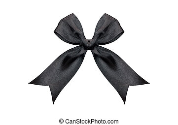 Black ribbon bow isolated on white background with clipping path