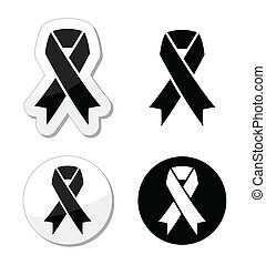 Black ribbon - mourning, melanoma - The internationl symbol...
