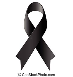 Black ribbon mourning symbol on white