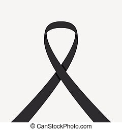 black ribbon on white background
