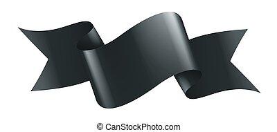 black ribbon on white background. Vector illustration