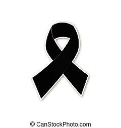 Black ribbon vector on white backgr