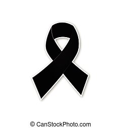 Black ribbon vector on white backgr