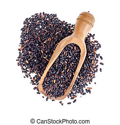 Black rice in wooden scoop, isolated on white background, healthy food