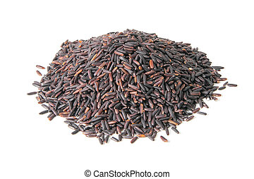 Black rice isolated on a white background. Front views, close-up