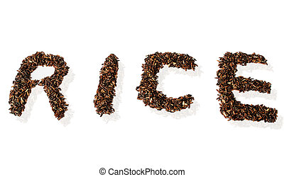 Black rice on a white background