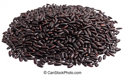 Black Rice. Pile of grains, isolated white background.