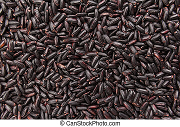Black Rice seed. Closeup of grains, background use.