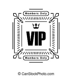 Black rich decorated square VIP design with crown on a white background.