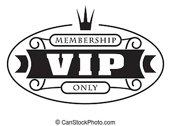 Black rich decorated VIP design with crown on a white background.