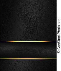Black rich texture with black ribbon and gold edge