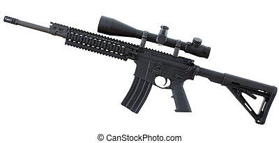 Black rifle - Isolated assualt rifle that is black with an...