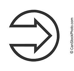 Black right arrow flat icon on white Background