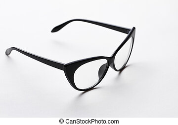 Black-rim glasses with transparent lenses