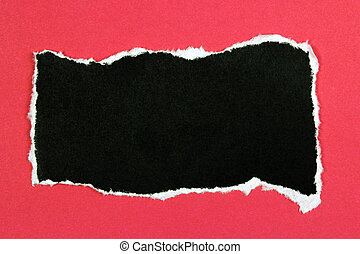 black ripped paper on red background