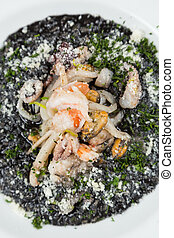 black risotto with seafood