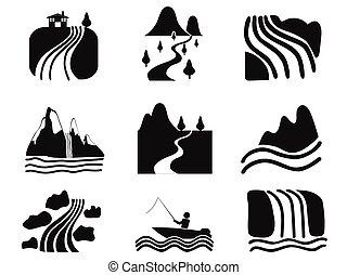 black , rivier, iconen, set