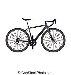 black road bike isolated on white background, flat style