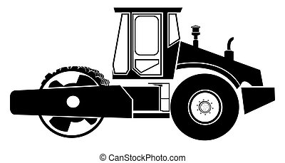 Road roller - Black Road roller against white background. ...