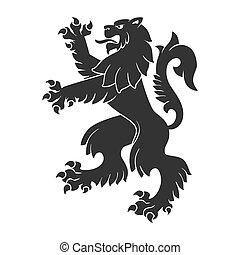 Black Roaring Lion For Heraldry Or Tattoo Design Isolated On...