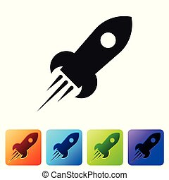 Black Rocket ship with fire icon isolated on white background. Space travel. Set icon in color square buttons. Vector Illustration