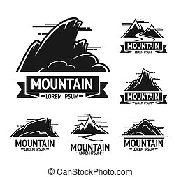 Black rocky mountains emblems with clear sky above, half...