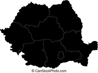 Black Romania map - Administrative division of the Romania...