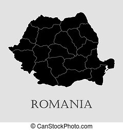 Black Romania map - vector illustration