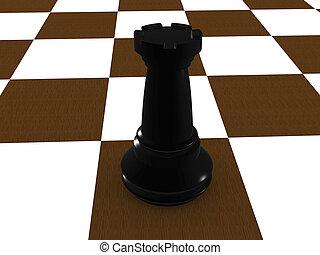 rook - black rook. 3D