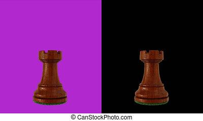 Black rook chess piece chromakey 360 degree rotation ...