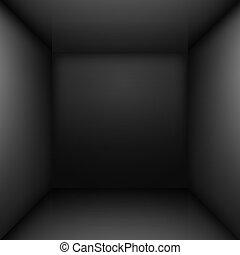 Black room - Black simple empty room interior. Illustration...