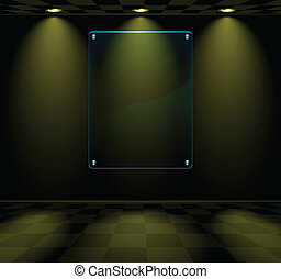 Black room with glass placeholder