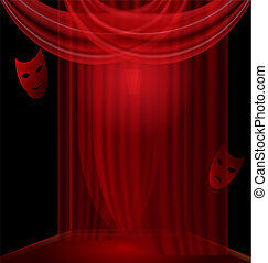 black room with red drape