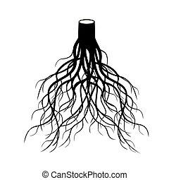 Black Roots Tree. Vector Illustration.