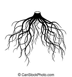 Black Roots Tree. Vector Illustration.