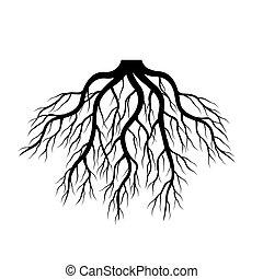Black Roots. Vector Illustration.