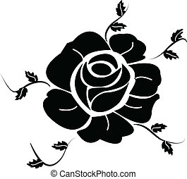 Black Rose silhouette with leave
