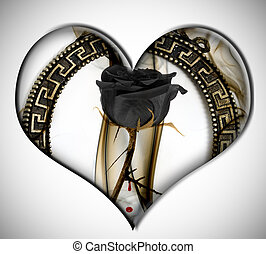 black rose heart - a black rose inside a heart on a white...