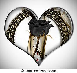 black rose heart - a black rose inside a heart on a white ...