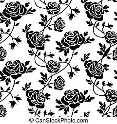 Black roses at white - Romantic roses seamless pattern, ...
