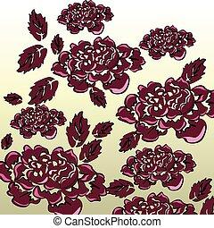 Black roses background isolated