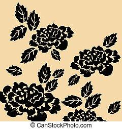 Black roses on isolated background
