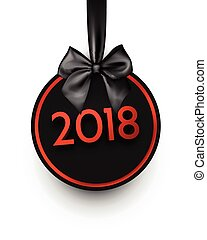 Black round 2018 New Year card. - Round 2018 New Year card...