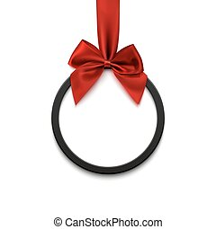 Black round banner with red ribbon and bow, on white background.