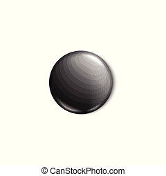 Black round button pin realistic mockup