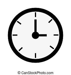 black round clock , vector illustration